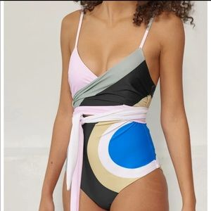 MARA HOFFMAN Isolde Wrap One Piece Swimsuit